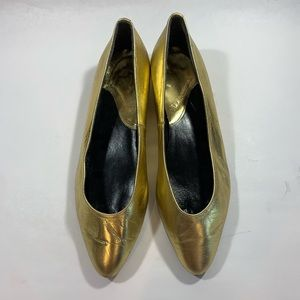 Vintage 80s Gold Leather Wedge Flats sz 7